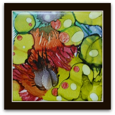 Alcohol ink painting on ceramic tile