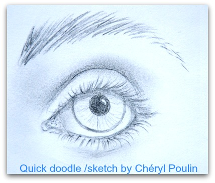 This is the doodle that inspired the desire to prepare the How To Paint Eyes tutorial.