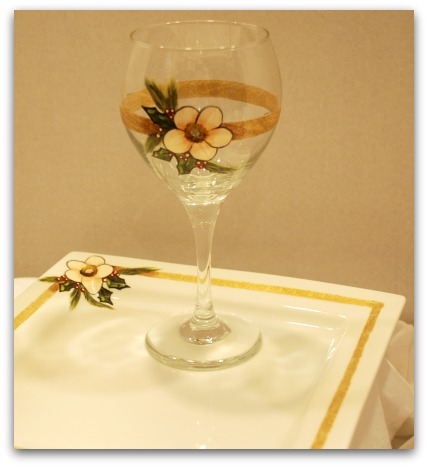 Hand painted wine glasses set.