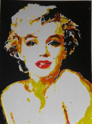 Marilyn Monroe - hand painted onto clear glass