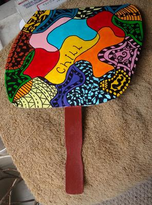 hand made freeform fan.  acrylics and marker