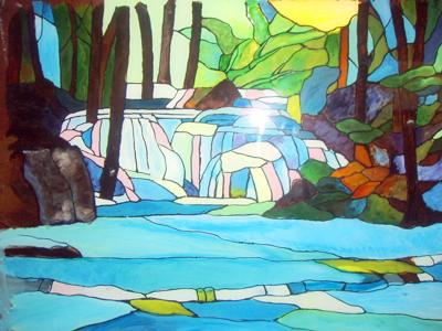 Glass Painitng Woodland Water Fall (Chantals designs)