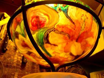 chandelier lit, photo from below