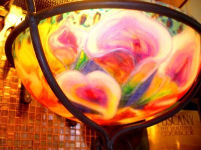 2nd view, lit chandelier