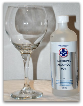 Wipe down the wine glasses with rubbing alcohol