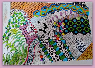 Zentangle Doodle with Acrylics and Watercolor