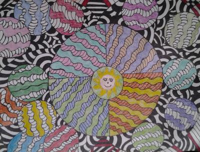 hand drawn..colored pencil...the face on the sun has to go...lol