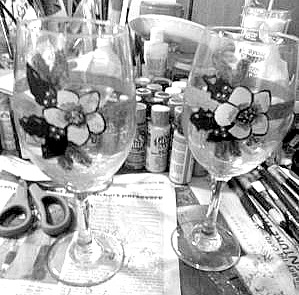 Painted Xmas Wine Glasses, Black & White photo